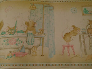 **Baby Bunnies Bath-time - Wall Border