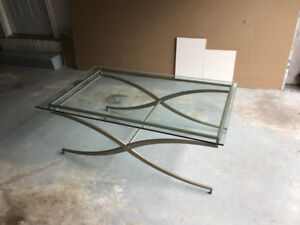 Rectangular glass and brushed nickel coffee table