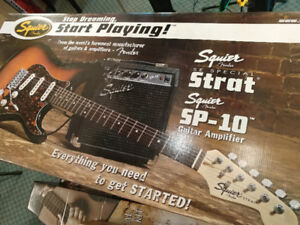 Fender Squier SE Special Strat Pak w/ SP-10, Tuner, +more - NEW