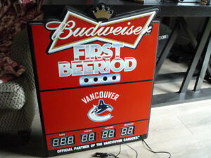 Budweiser Vancouver Canucks First Beeriod Hockey Bar Sign