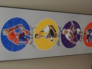 6 HOCKEY HALL OF FAME AUTOGRAPHS IN ONE COLOUR FRAME.