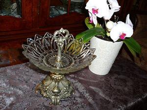 plateau-centre de table, vintage1950, bronze & cristal taillé