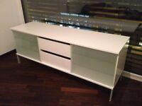 Tv Stand Entertainment AV TV Media Cabinet Unit - White Glass Doors 2 Drawers - Used