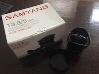 Samyang 8mm Fish Eye lens Canon Mount