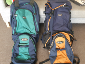 2x One Planet backpacks and daypacks. 75L and 65L