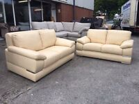 Brand New 3+2 Real Leather Cream, Static Sofa Settee Crome trimmings Set