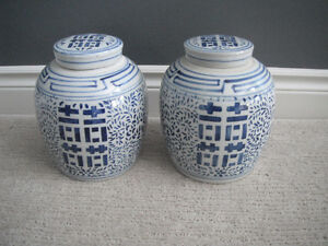 2 Blue & White Vases With Lids