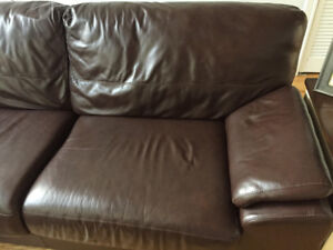 Excellent 100% Leather Jaymar Sectional Couch, Lamps, ExerBike
