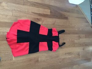 Ladies colour block dress coral and black