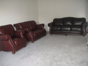 Classic 100% Leather 3 Pieces Sofa Set, Can Deliver