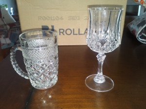 Crystal Wine Glasses, Mugs  and Candlestick Holders