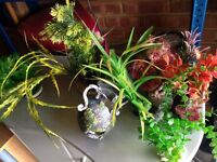 Job lot of ornaments and plants for fish tank
