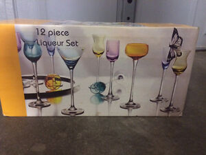 12 piece Colourful Glass Liqueur Set Kitchener / Waterloo Kitchener Area image 1