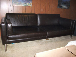 Living room set leather sofa with coffee and end tables