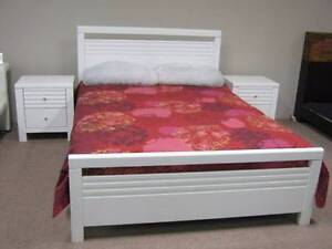 Double bed + 2 x bedside - White - NEW - SELL AS-IS Malaga Swan Area Preview