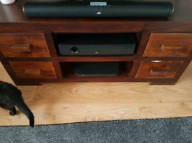 Solid wood tv unit.