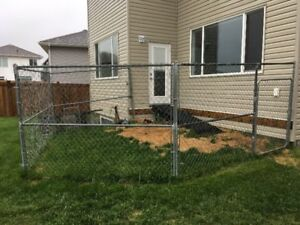 Chain link fencing for dog/pet run.