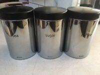 Brabantia Tea Coffee Sugar canisters