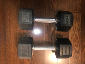 25lbs Dumbbells - Good Condition, Rubber. Coated