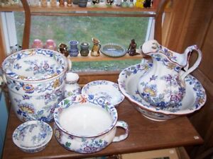 MASONS ENGLAND 11 PIECE SWANSEA PITCHER BASIN WASHSTAND SET