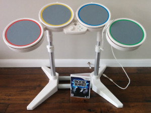 Wii rock band game and drums