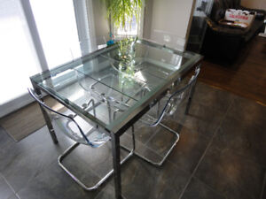 IKEA TOBIAS GLASS & STAINLESS TABLE & 4 CHAIRS  KITCHEN DINING