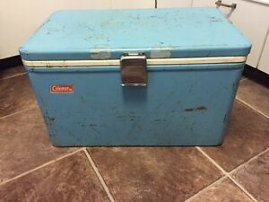 Vintage Metal Coleman Cooler with Opener