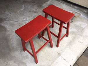Red Wood Counter Stools (Quantity 2)