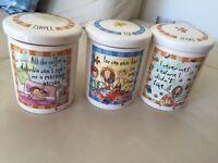 'Born to shop' Coffee, tea & sugar storage jars and tea bag tidy