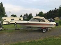 SunRay 14 ft Boat and Trailer and 50hp Mercury outboard