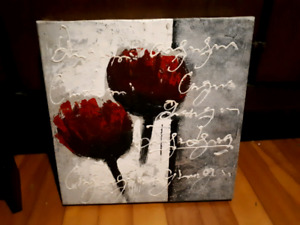 Rose or red colored flower art on canvas-$5