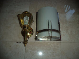 Lot of 2 Wall Lights - Brushed Nickel Frosted White Glass Lamps