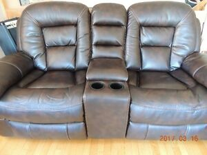 Leather-look fabric Reclining & Rocking Loveseat & Chair Walnut