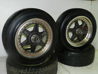 HASEMI 225/50/R16 SET OF 4 WHEELS DUNLOP USED SUMMER TIRES
