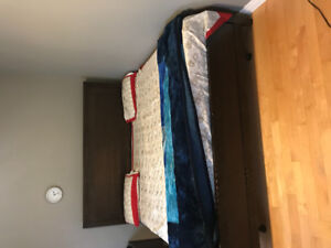 King size bed with mattress and box and metal support platform