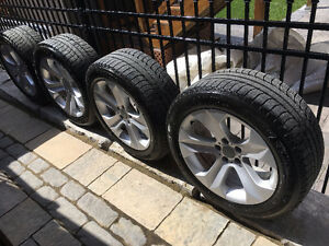 "OEM BMW X6 19"" rims and 4 near new Michelin X-ice winter tires"