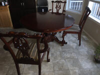 Solid Wood, Round Dining Room Table and 4 Chairs