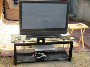 "42"" Hitachi TV, stand and player"