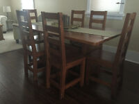 Vintage Dining Trestle Table with 6 Ladderback Chairs!