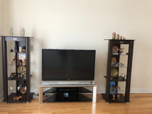 """LCD Projection TV 52"""", TV Table and Two Media Tower"""
