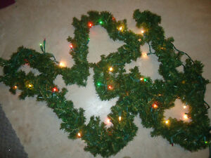 Mini Christmas lights with green garland