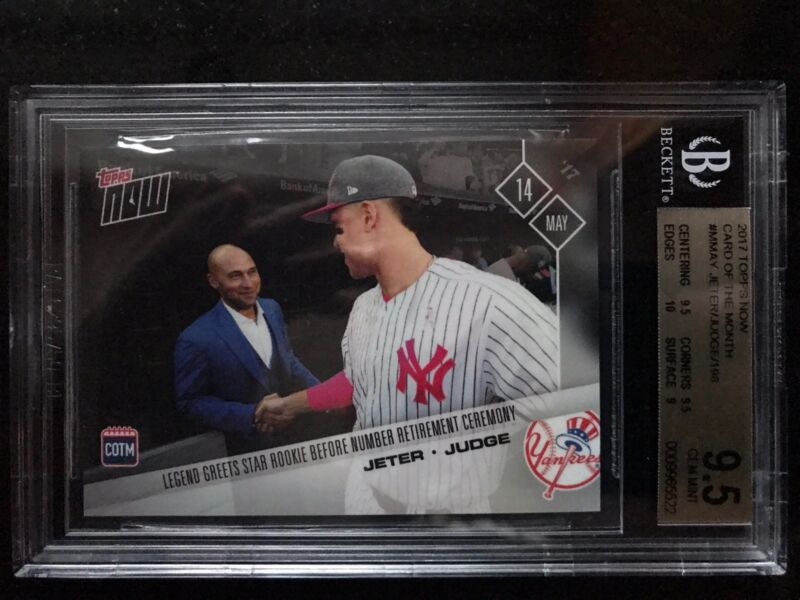2017 Topps Now Aaron Judge Derek Jeter May Card Of The Month Cotm Bgs 9.5 Pop 2