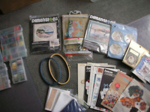 Assorted needlework kits and floss