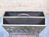 fireplace tools antique paper bin coal