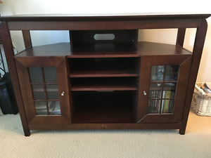 Dark Brown Wooden TV Stand