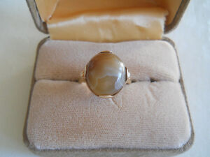 14k Solid Yellow Gold Oval Cabochon Jasper Ring