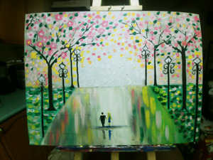 ABSTRACT ART PAINTING COUPLE PINK CHERRY  TREES