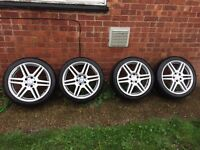 "Set of 4 18"" Mercedes amg alloy wheels with tyres wider rears"
