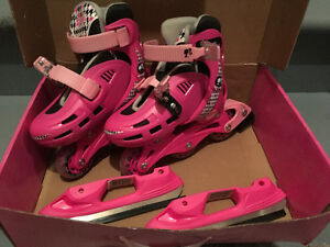 Girls adjustable ice/roller skates -2 in 1
