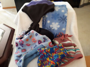 4 Winter hats, Scarf, mittens-Size 2-3 yr old